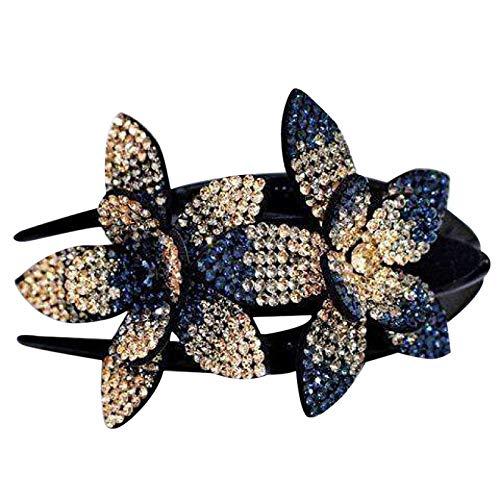 Rhinestone Double Flower Hair Clip,Flexible Durable Pearls Design Women Hair Dovetail Clip
