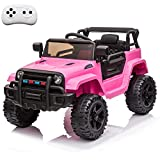 VALUE BOX Kids Ride On Truck 2.4G Remote Control, Kids Electric Ride-on Car 12V Battery Motorized Vehicles Age 3-5 w/ 3 Speeds, Spring Suspension, LED Lights, Horn, Music Player, Seat Belts (Pink)