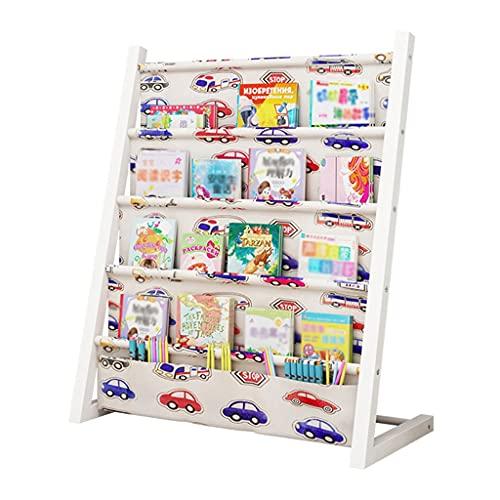 Librerías Biblioteca Infantil Escuela Primaria Dibujos Animados de Dibujos Animados Foto de pie Piso-Techo Kindergarten Periódico Rack (Color : White d, Size : 63 * 25 * 80cm)