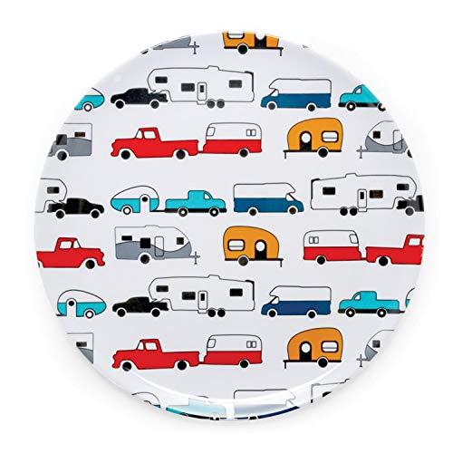 Camco Life is Better at The Campsite - Plato grande para cena, color blanco con diseño retro de RV, caravana y remolque, sin BPA, melamina (53224), placa pequeña