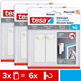 Tesa 77773 - Carta da parati e intonaco, 1 kg, in confezione da 3 pezzi, superficie sensibile senza residui, 1 kg di tenuta per chiodo, 3 x 2 chiodi adesivi, 1 kg