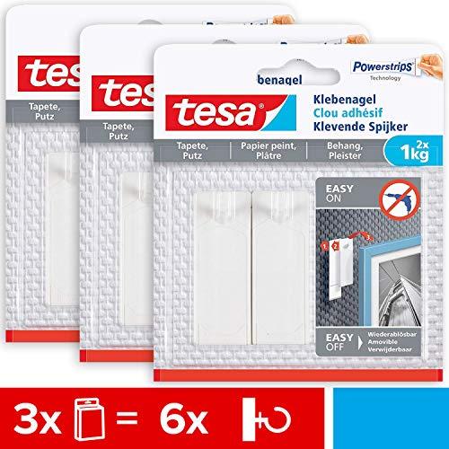 tesa 77773 Tapeten und Putz 1kg im 3er Pack-Selbstklebende empfindliche Oberflächen-rückstandslos-Bis zu 1kg Halteleistung pro Nagel-3 x 2 Klebenägel, 1 Kg