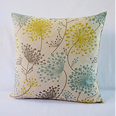 Floral Pillow Cover Gray Yellow Aqua Teal Botanical DecorativeThrow Oatmeal