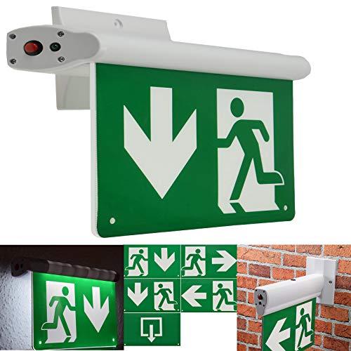 LED Fluchtwegleuchte Montage an Wand & Decke Erkennung bis 25m Nach EN-61547 5 Richtungszeichen Notbeleuchtung mit Akku