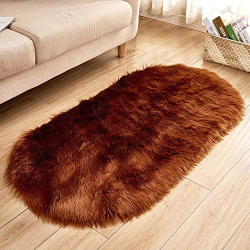 XWJRPA tapijt 80 * 180cm Ovaal Faux Kunstmatig Tapijt Wasbare Zitmat Fluffy Tapijten y Wol Zachte Warme Tapijten Voor Woonkamer 70x150cm Koffie