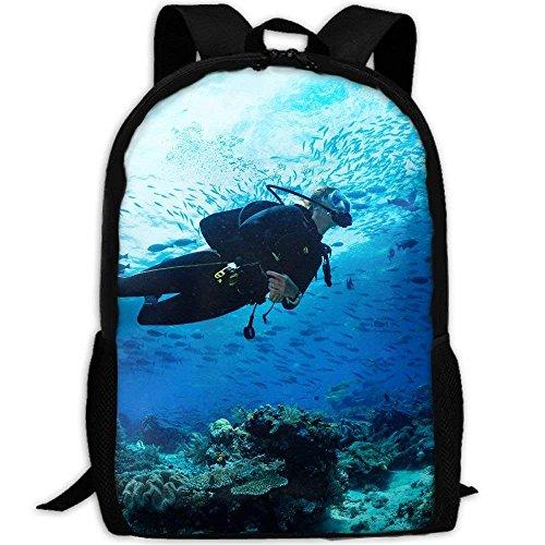 Nsafinhwv Backpack Rucksack Girl Scuba Diver Tauchen Auf Tropischem Riff Laptop Rucksack Ergonomischer Kinderrucksack Wasserdicht Schultasche Für Jungen Mädchen Schule Herren Damen 28x 43cm