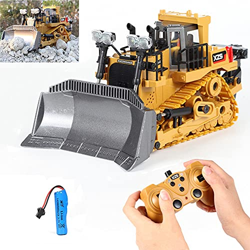 Remote Control Construction Toy, Remote Control Bulldozer Toys Car 9 Channel 1:24 Hobby RC Trucks Caterpillar Aluminum Alloy Rc Front Loader 4WD for 4-15 Years Old Boys Kids Gift (Alloy Bulldozer)