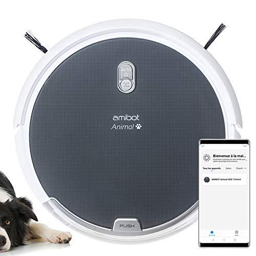 AMIBOT Animal Comfort H2O Connect - Robots Aspirateurs et laveurs connecté iOS/Android spécial Poils d'animaux