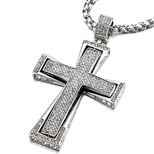 COOLSTEELANDBEYOND Men Women Large Steel Cross Pendant Necklace with Cubic Zirconia, 30 inches Wheat Chain
