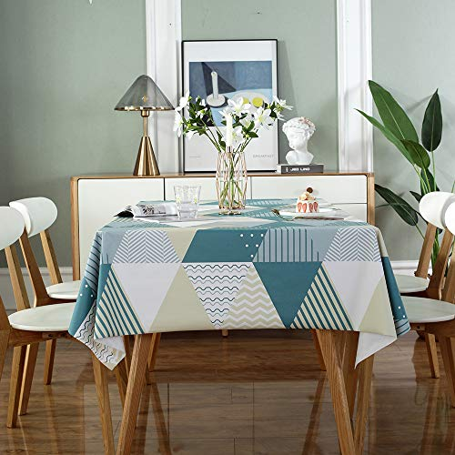 DUOFIRE テーブルクロス 北欧 テーブルカバー PVC製 長方形テーブル クロス 撥水 防水 防油 おしゃれ 食卓カバー 137×200cm(幾何柄)