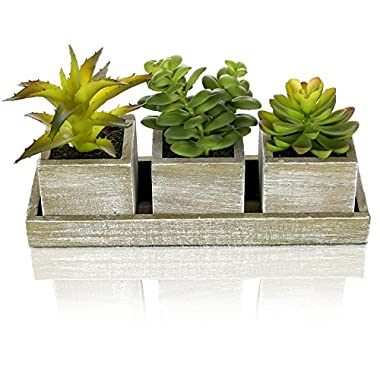 Set of 3 Realistic Artificial Succulent Plants w/ Rustic Style Wood Square Pots & Rectangular Tray