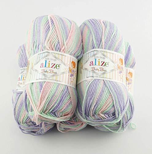Alize 5 x 100g Babywolle Baby Best Batik mit 10% Bambus, 500 Gramm Wolle mit Farbverlauf Mehrfarbig 7258 (7258)