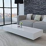 Festnight Mesa de Centro Rectangular en Blanco Brillante Moderno 115 x 55 x 31 cm