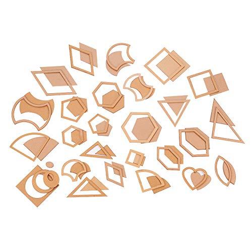 PandaHall 54pcs (27sets) 27 Stili Acrilico Trapunta Modelli Cuore/Triangolo/esagono/Quadrato/Diamante Stencil Modello Strumento Fai da Te per Cuoio Artigianale Quilting Strumento di Cucito Burlywood