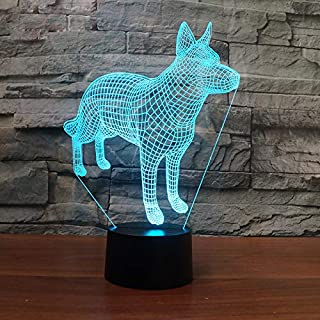 3D German Shepherd Dog Night Light 7 Color Change LED Table Desk Lamp Acrylic Flat ABS Base USB Charger Home Decoration Toy Brithday Xmas Kid Children Gift