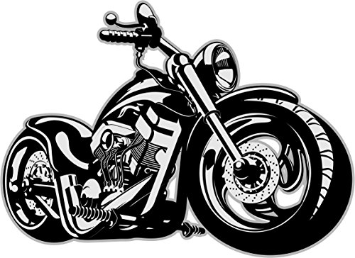 "Wandtattoo \""custom bike\"", Art. Nr. kfz_266, Schwarz/Weiß, Harley Moped chopper, Tattoo für die Wand, Matt laminiert, Vergilbungsfrei, Raufaser geeignet (500mm x 360mm)"