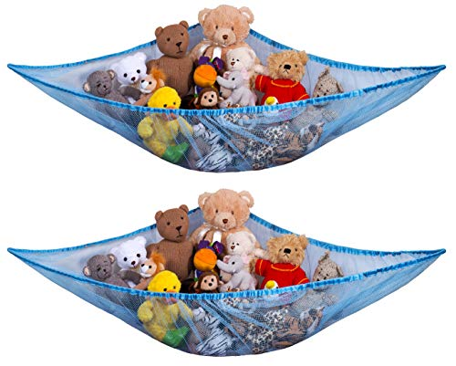 Jumbo Toy Hammock  Blue - Organize Stuffed Animals and Children s Toys with this Mesh Hammock. Great Decor while Neatly Organizing Kid s Toys and Stuffed Animals. Expands to 5.5 feet. (2-Pack)