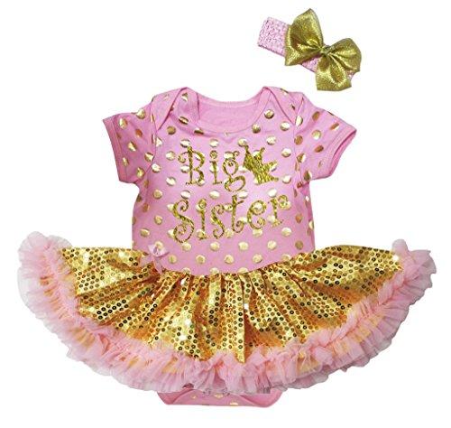 Petitebelle Glitter Grote Zuster Dots Roze Lichaam Goud Pailletten Tutu Set Nb-18m