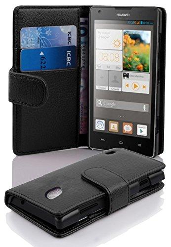 Cadorabo Hülle für Huawei Ascend G700 in Oxid SCHWARZ – Handyhülle aus Strukturiertem Kunstleder mit Standfunktion & Kartenfach – Hülle Cover Schutzhülle Etui Tasche Book Klapp Style