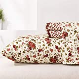 MEISHANG Floral Sheets Printed BedSheets Ultra Soft 100% Microfiber-Deep Pocket Fitted Sheet+Flat Sheet+Pillowcases-4 Pieces Full