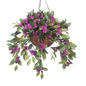 OakRidge Fully Assembled Impatiens Hanging Basket – Large Artificial Flower Outdoor or Indoor Decoration with Hook – Purple