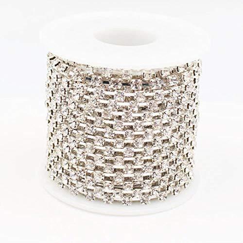 Strassketting 10 Iarden/set 1 rij Ss8 zilver koperen klauwen glaskristallen stenen DIY ketting strass mok kleding kristal S dun Ss6