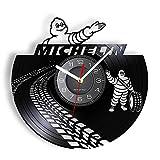 KDBWYC Rueda de Coche, Publicidad de Marca, Reloj de Pared Retro, neumático de Coche, Garaje, Vinilo, álbum, Interruptor para Grabar, Reloj, Robot, Cueva, Reloj silencioso sin LED