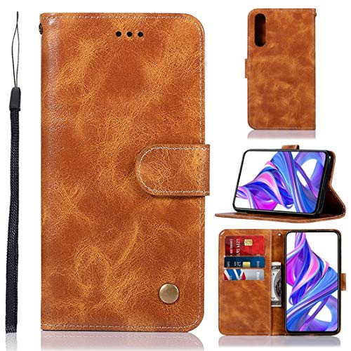 JIAHENG Phone Case For Huawei Honor 9X / 9X Pro Retro Copper Buckle Crazy Horse Horizontal Flip PU Leather Case with Holder & Card Slots & Wallet & Lanyard PU Leather Cover Shell
