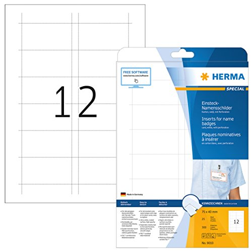 HERMA 9010 Namensschilder für Kleidung DIN A4 (75 x 40 mm, 25 Blatt, Karton) perforiert, bedruckbar, nicht klebende Einsteckkarten, 300 Einsteckschilder, weiß