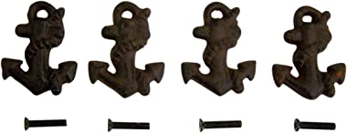 Cast Iron Nautical Rope Wrapped Anchor Cabinet Handle Drawer Pulls, Set of 4, 2 1/4 Inch