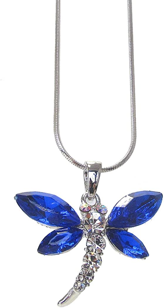 Fashion Jewelry ~ Blue Crystal Dragonfly Pendant Necklace for Women Teens Girlfriends Birthday Gifts