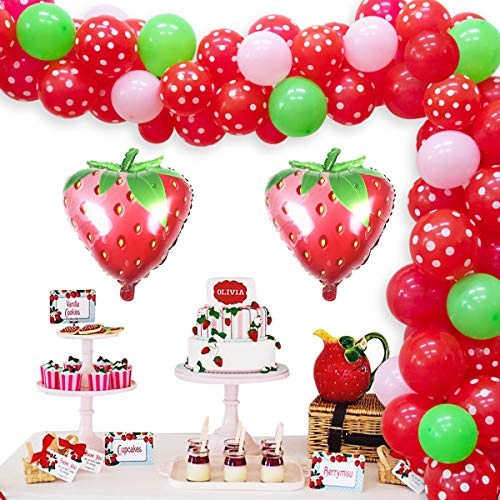 Strawberry Party Decorations Birthday Balloon Garland Kit for Girls Pink 1st 2nd Birthday Party Supplies Strawberry Red and White Polka Dot Balloons