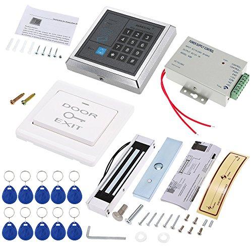 KKmoon Kit Sistema de Control Acceso Controlador Contraseña + 180KG / 396lb Cerradura Magnética Eléctrica + Interruptor + DC12V Fuente de Alimentación + 10 Tarjeta RFID 125KHz