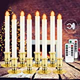 Christmas Window Candles Lights - 8 Pack Battery Operated Flameless Taper Candles,Window Candles with 2 Remote Control and Timer,Led Electric Candle Light with Removable Golden Holder,Christmas Decor