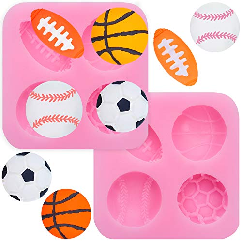 2 Pieces 4-Cavity Ball Cake Decoration Silicone Molds, Football Basketball Baseball Rugby Silicone Molds, Cake Fondant Molds for DIY Chocolate, Cake, Pudding, Ice Cream Or Keychain, Pink