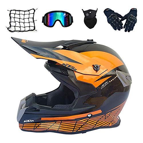 Casco de motocross para adulto, color naranja, casco integral de bicicleta de montaña con gafas y guantes máscara de red, Pro Moto Cross casco para todoterreno cuatriciclo, dljyy (color : C)