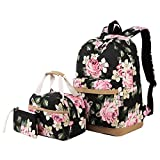 Backpack for Girls Teens High School and College, Bookbags +Lunch Bag + Pencil Case, 3 bags in 1 (3 in 1...