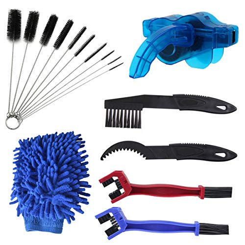 N / A Bike Chain Cleaning Brush Set, 16 Pcs Bicycle Clean Tool Kit,Bicycle Maintenance Washing Tool for Mountain Bike Road Bike City Bike Hybrid Bike Chain/Tire/Sprocket, Fit for All Bicycle