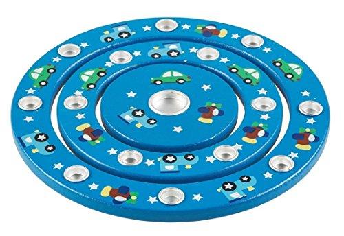 Idena 40028 - Geburtstagsringe aus Holz, Blau, Durchmesser 18,5 cm, für 1 Lebenslicht und 14 Geburtstagskerzen, Kindergeburtstag, Geburtstagskerzen, Dekoration