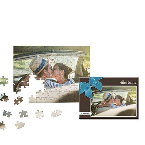 Fotopuzzle 100 bis 2000 Teile - Gestaltung jetzt direkt Hier - Das Puzzle mit eigenem Foto und individueller Geschenk-Schachtel (100 Teile, Schachtel: Blaue Schleife)