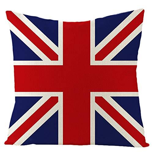 Aeici Fodera Decorativa Cuscino, Federe Divano Cuscini 45x45cm Federa per Cuscino Rettangolare Modello di Bandiera del Regno Unito Rosso Blu Stile 03