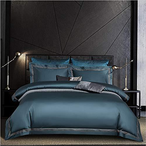 DUIPENGFEI Pure Color 120 Long-Staple Cotton Embroidered Four-Piece Bed, Pure Cotton Skin-Friendly Duvet Cover Set, Mocha Blue, Set King 220X240Cm