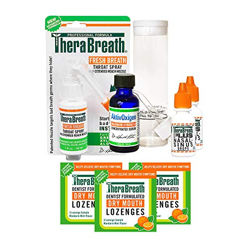TheraBreath Dentist Formulated Tonsil Stone Kit with Throat Spray, Sinus Drops, Dry Mouth Lozenges & AktivOxygen Serum