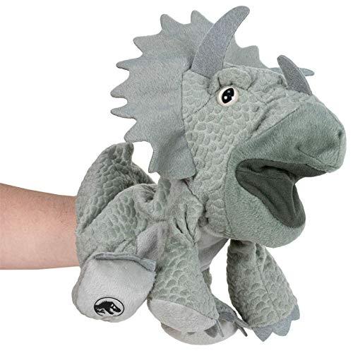 Jurassic World Triceratops Plüsch Handpuppe 25cm Dino | Dinosaurier | Kuscheltier | Plüschtier | Geschenk für Kinder | Mädchen | Jungen | Spielzeug