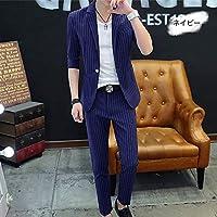 VeroMan セットアップ サマー スーツ メンズ ジャケット パンツ 2点セット 韓国ファッション ストライプ柄 (ネイビー, 2XL)