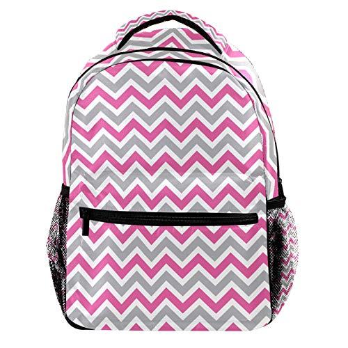 Pink and Gray Chevron Zigzag Laptop Backpack for Men School Bookbag Travel Rucksack Daypack School Bag for Women Girls