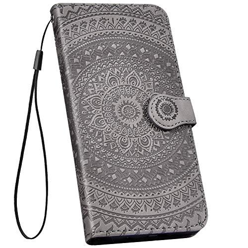 Ysimee kompatibel mit Samsung Galaxy A50 Hülle 3D Bookstyle PU Leder Schutzhülle Wallet Flip Ledertasche Case Handyhülle Lederhülle Handy Tasche Schale [Standfunktion] [Kartenfach], Mandala Grau