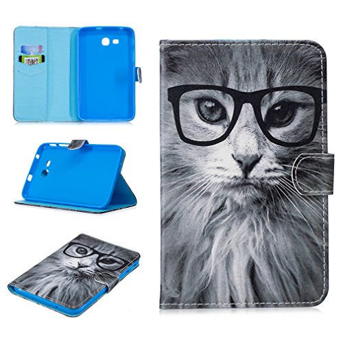 LMFULM Case for Samsung Galaxy Tab 3 Lite/SM-T110 / T116 (7,0 Inch) PU Leather Ultra-Thin Magnetic Cover Glasses Cat Pattern Stent Function Leather Case Flip Cover for Galaxy Tab 3 Lite