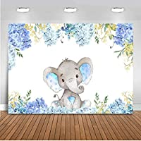 Wbw 7 x5フィートの青い象のベビーシャワー男の子または女の子のためのかわいい象の背景お誕生日おめでとう写真Kulissen