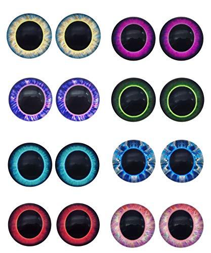 Julie Wang 20 Paar 18mm Eule Vogel Glasaugen für Kunstpuppen Skulpturen Requisiten Masken Fursuits Schmuckherstellung Präparatoren Flatback